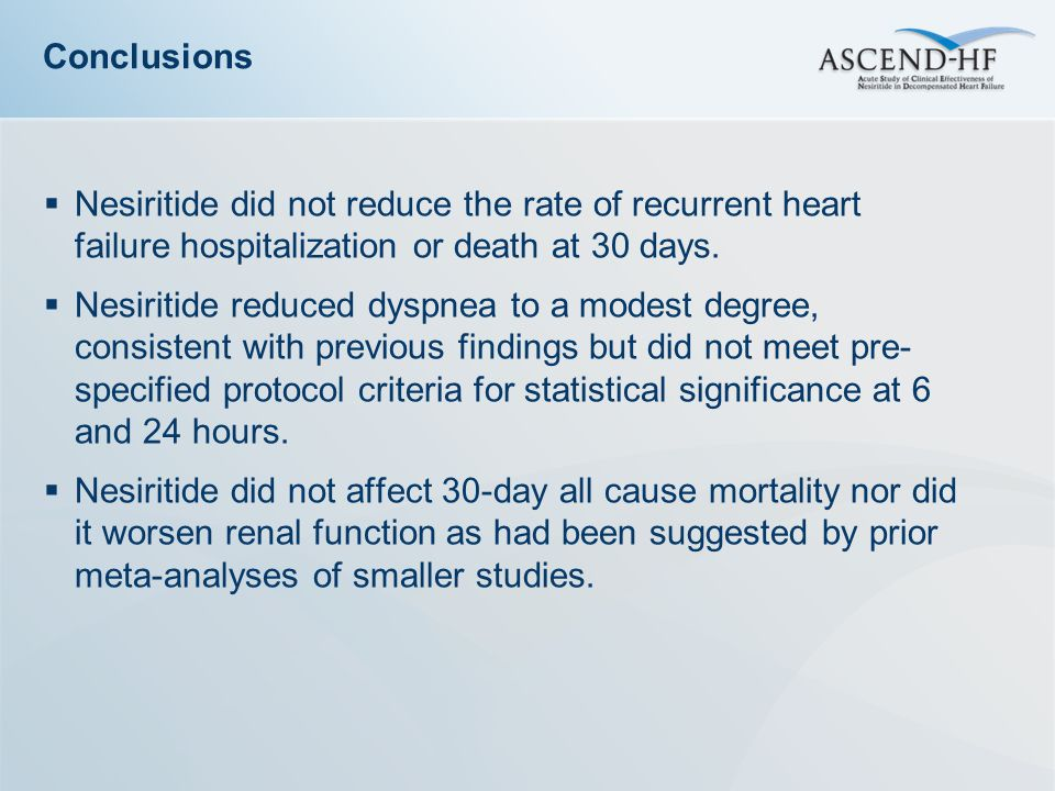 Conclusions Nesiritide did not reduce the rate of recurrent heart failure hospitalization or death at 30 days.
