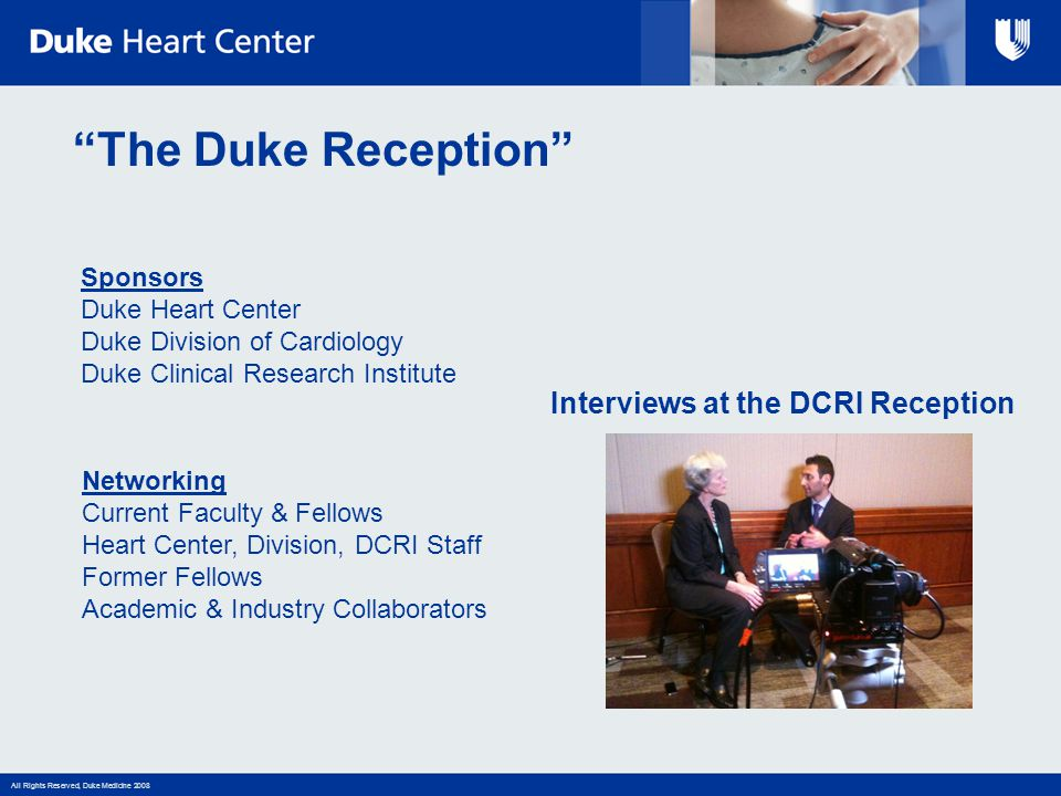 Interviews at the DCRI Reception