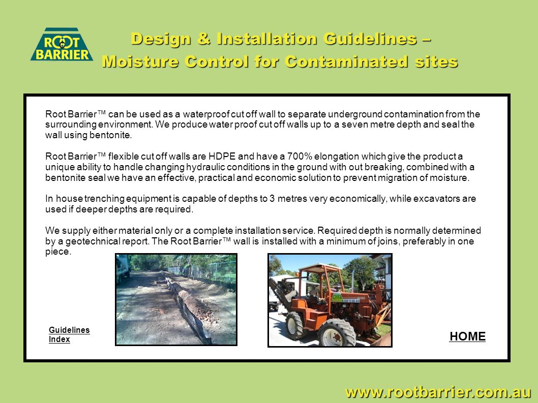Design & Installation Guidelines – Moisture Control for Contaminated sites