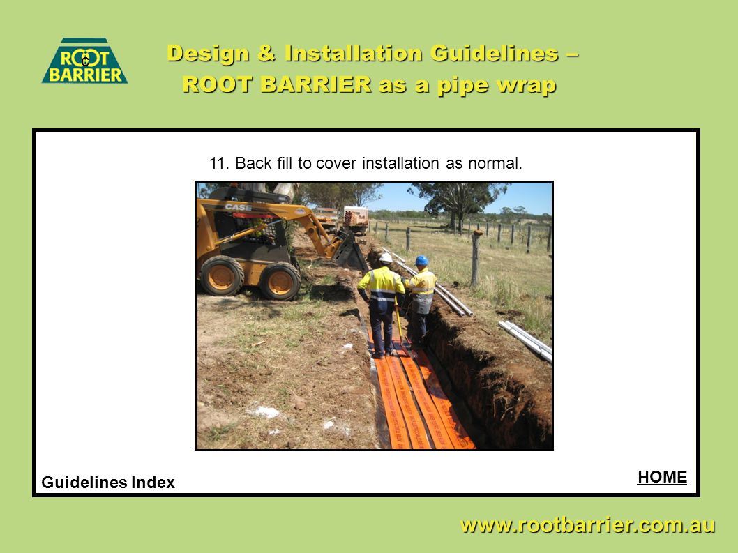 Design & Installation Guidelines – ROOT BARRIER as a pipe wrap