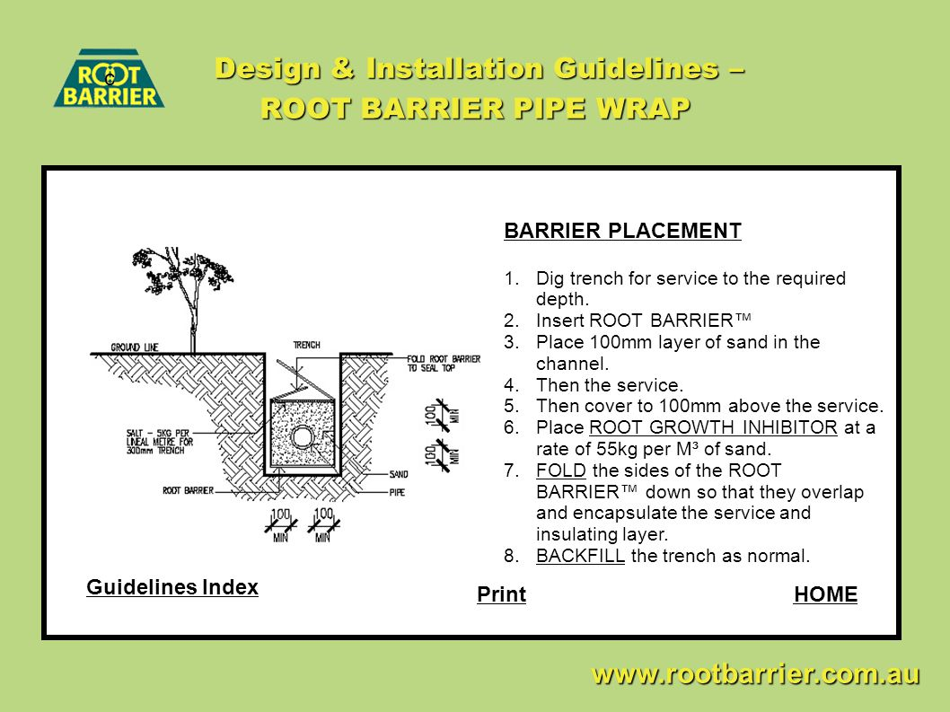 Design & Installation Guidelines – ROOT BARRIER PIPE WRAP