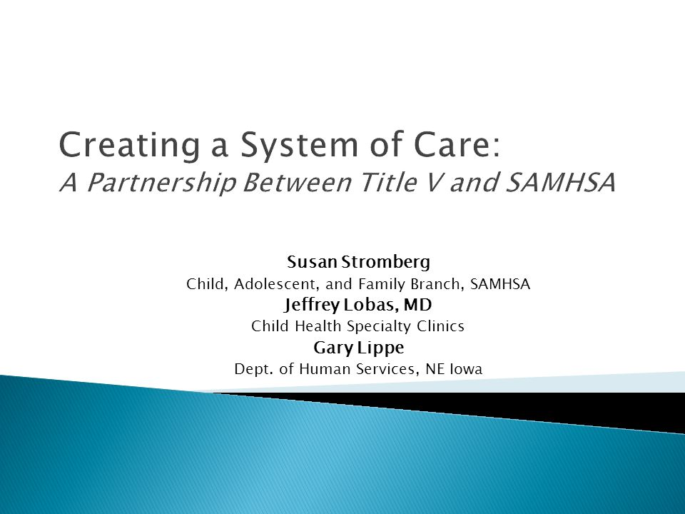 Creating a System of Care: A Partnership Between Title V and SAMHSA