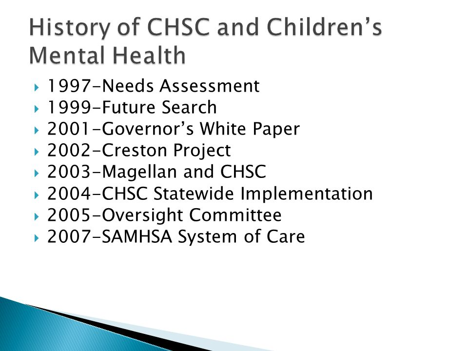 History of CHSC and Children's Mental Health