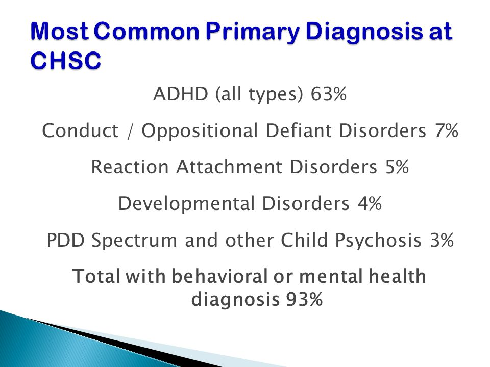 Most Common Primary Diagnosis at CHSC
