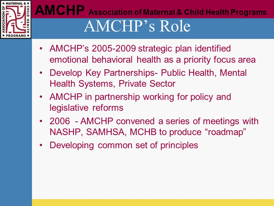AMCHP's Role AMCHP's 2005-2009 strategic plan identified emotional behavioral health as a priority focus area.