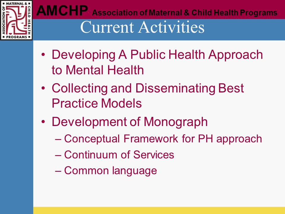 Current Activities Developing A Public Health Approach to Mental Health. Collecting and Disseminating Best Practice Models.