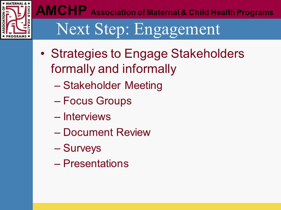 Next Step: Engagement Strategies to Engage Stakeholders formally and informally. Stakeholder Meeting.