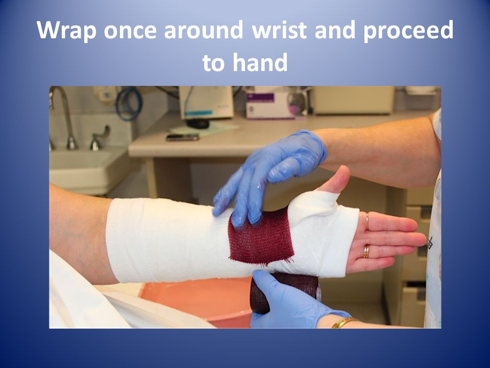 Wrap once around wrist and proceed to hand