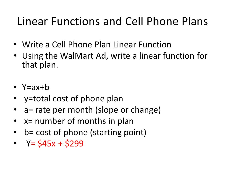 Linear Functions and Cell Phone Plans