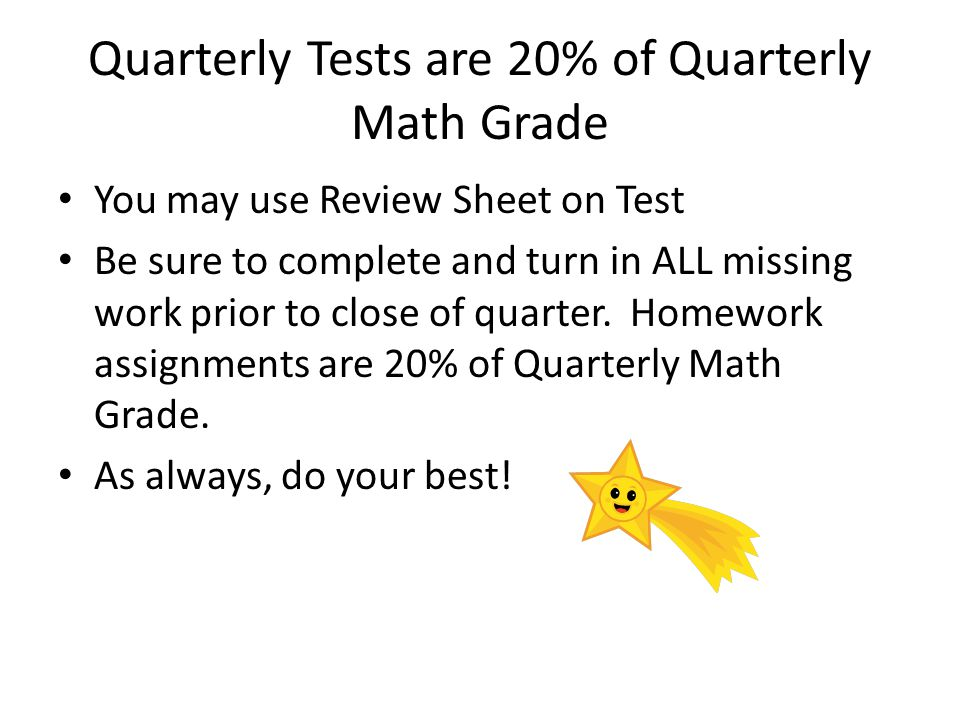 Quarterly Tests are 20% of Quarterly Math Grade