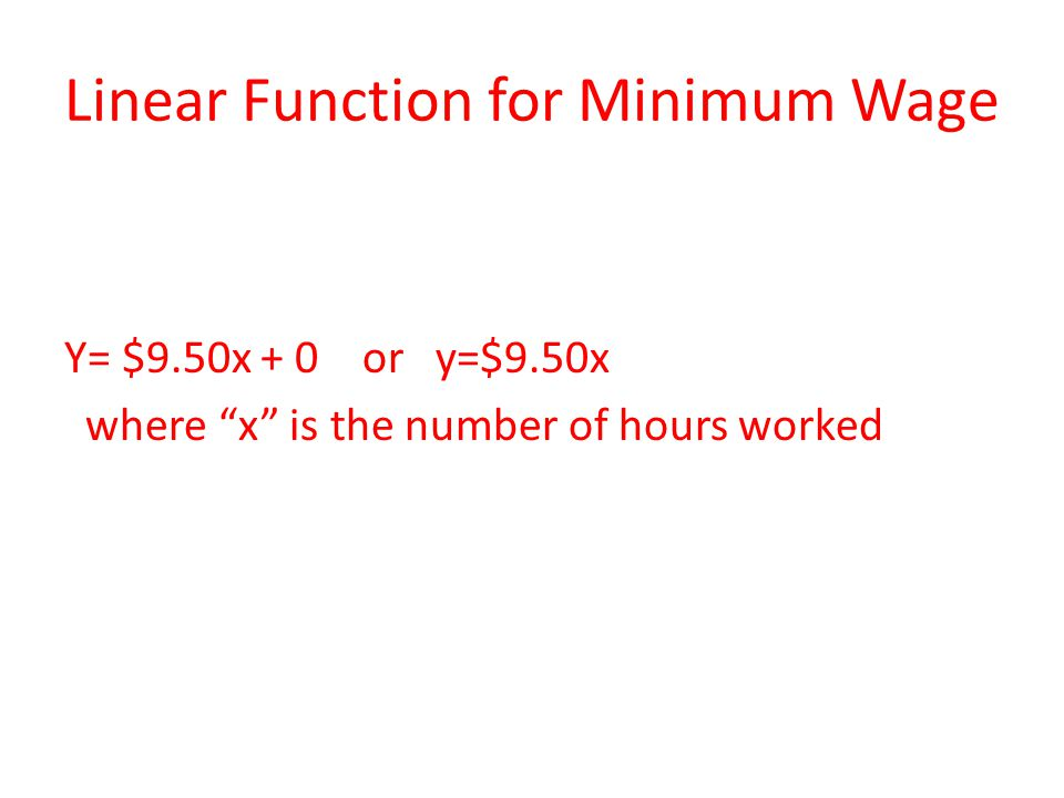 Linear Function for Minimum Wage