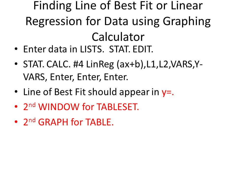 Finding Line of Best Fit or Linear Regression for Data using Graphing Calculator