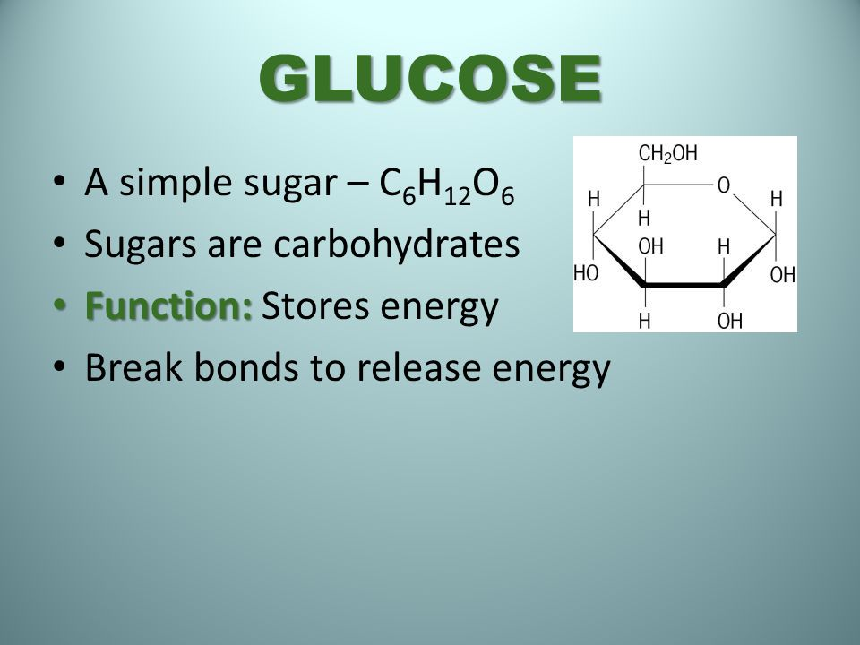 GLUCOSE A simple sugar – C6H12O6 Sugars are carbohydrates