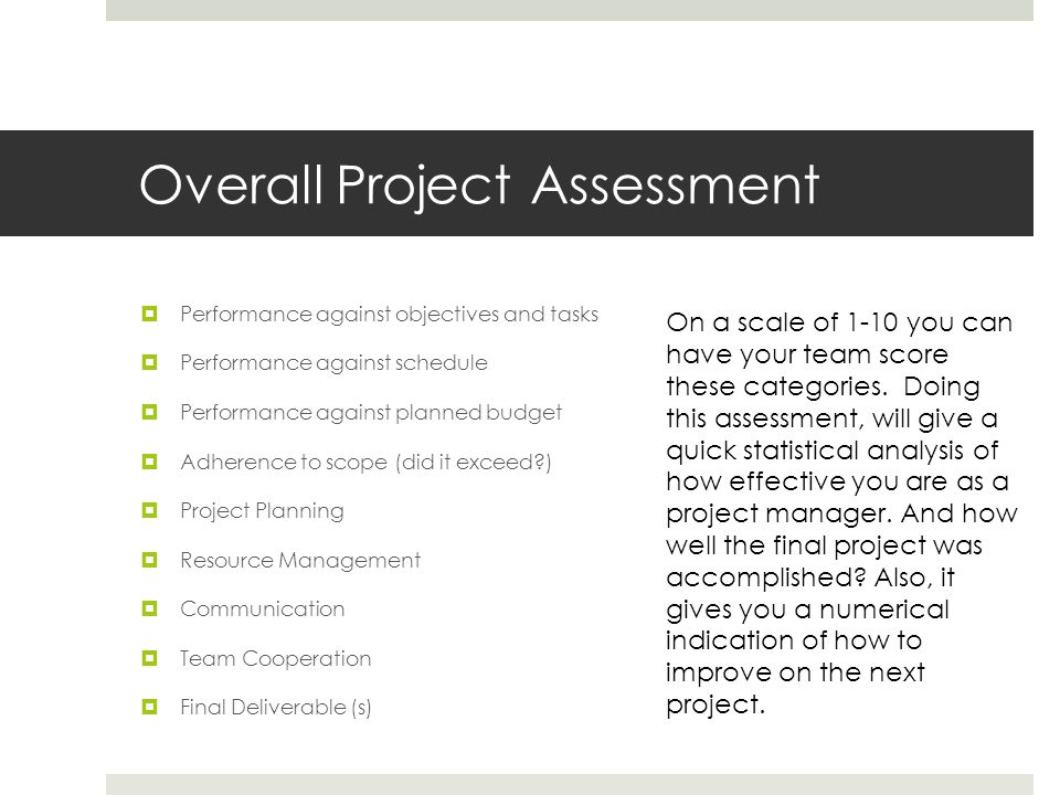 Overall Project Assessment