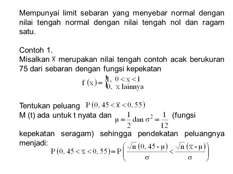 Mempunyai limit sebaran yang menyebar normal dengan nilai tengah normal dengan nilai tengah nol dan ragam satu.