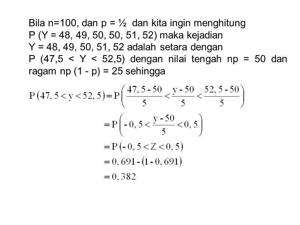 Bila n=100, dan p = ½ dan kita ingin menghitung