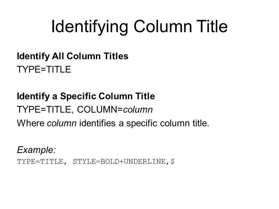 Identifying Column Title