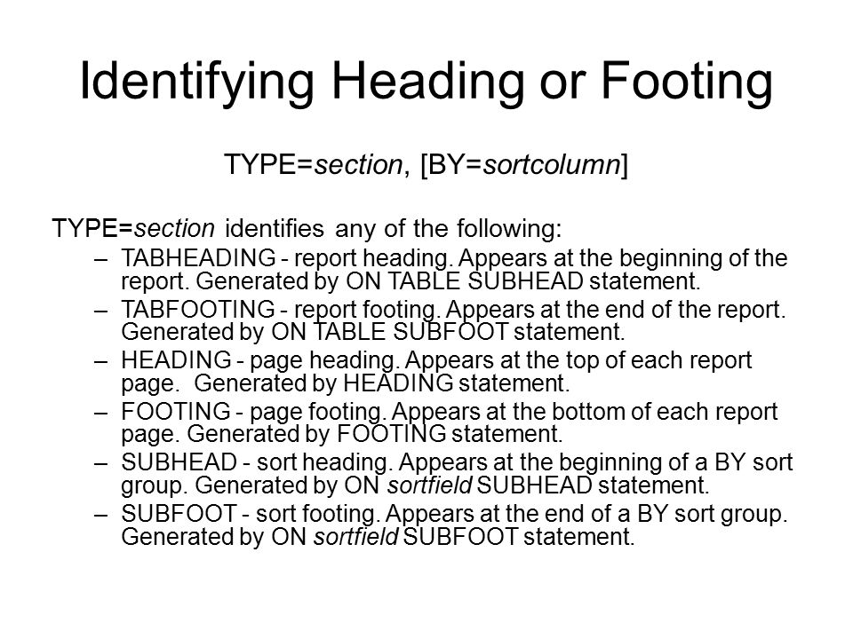 Identifying Heading or Footing