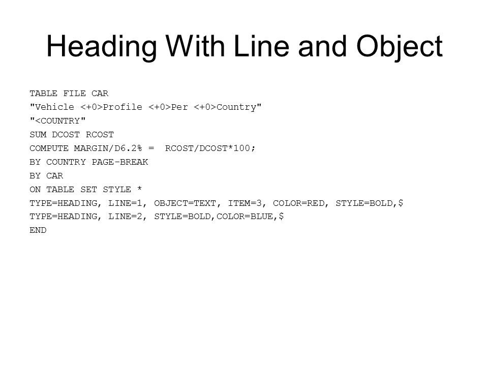 Heading With Line and Object
