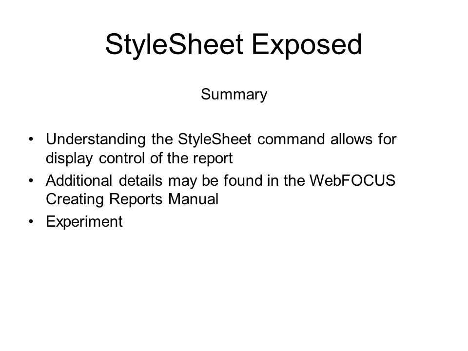 StyleSheet Exposed Summary