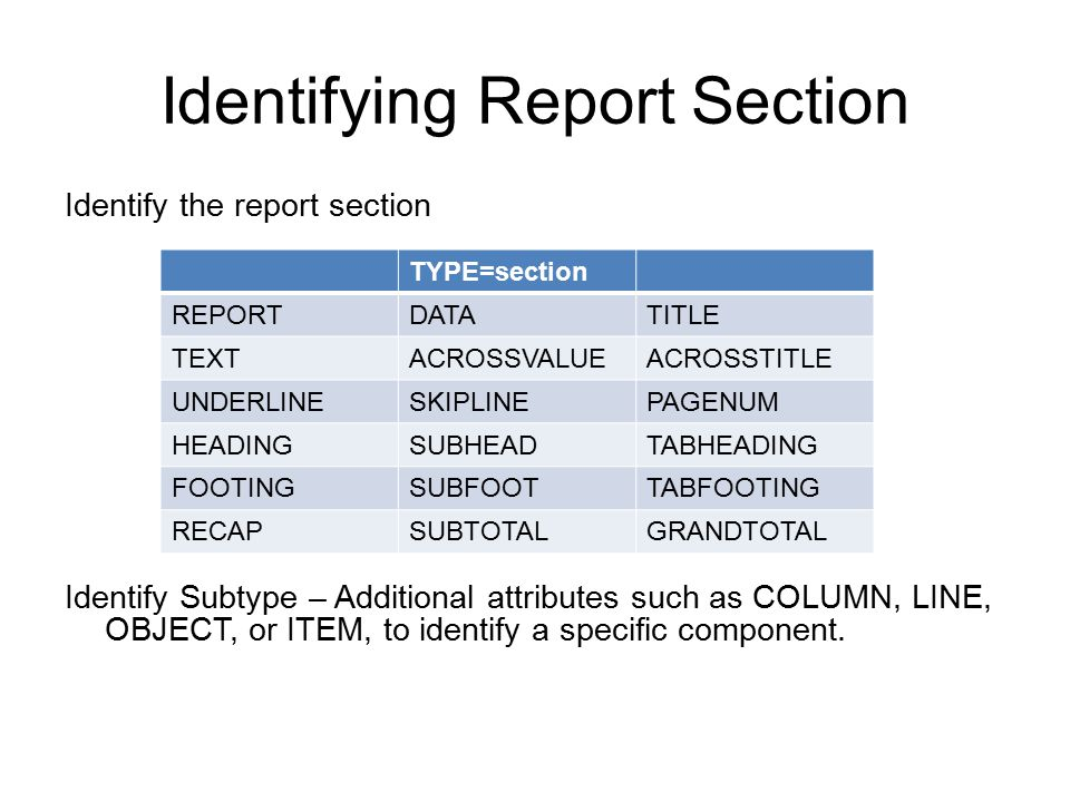 Identifying Report Section