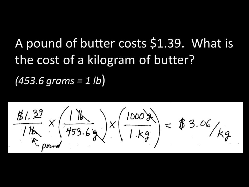 A pound of butter costs $1. 39