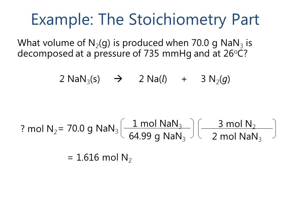 Example: The Stoichiometry Part