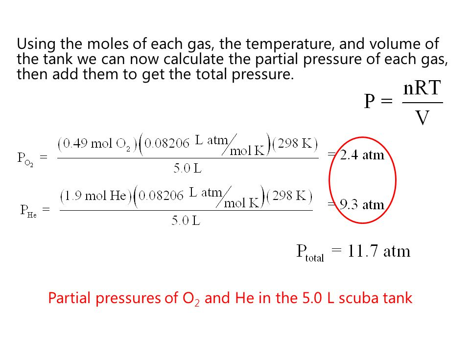Using the moles of each gas, the temperature, and volume of the tank we can now calculate the partial pressure of each gas, then add them to get the total pressure.