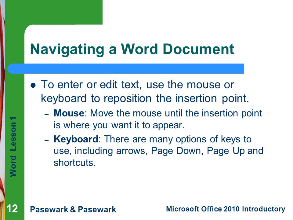 Navigating a Word Document