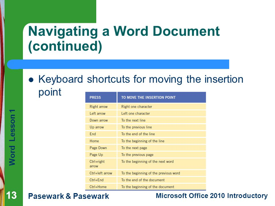 Navigating a Word Document (continued)