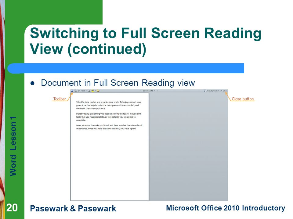 Switching to Full Screen Reading View (continued)