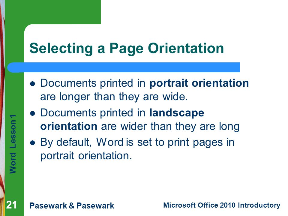 Selecting a Page Orientation