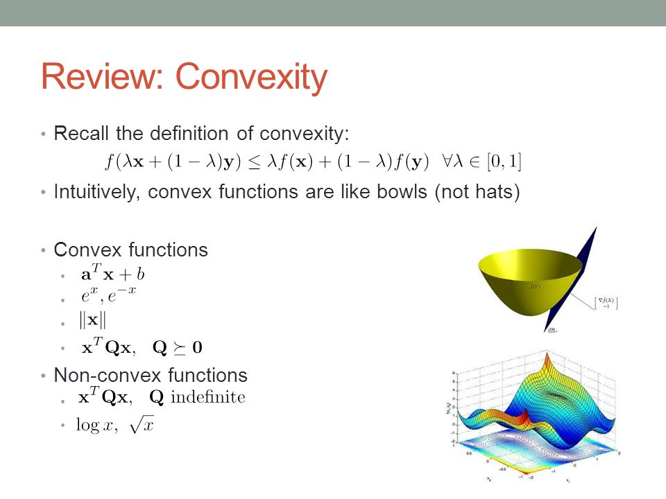 Review: Convexity Recall the definition of convexity: