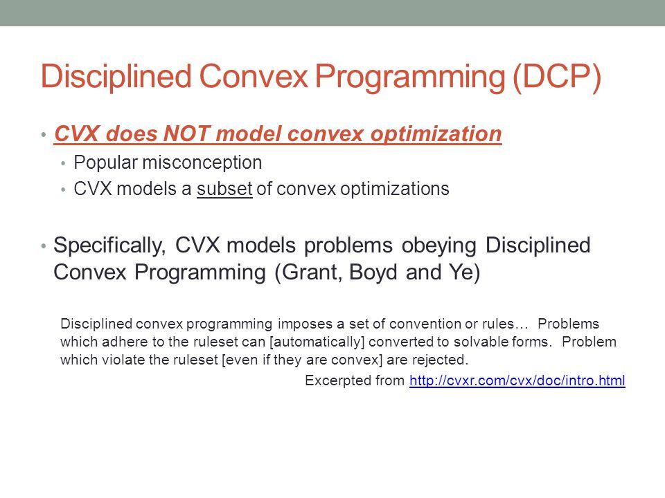 Disciplined Convex Programming (DCP)