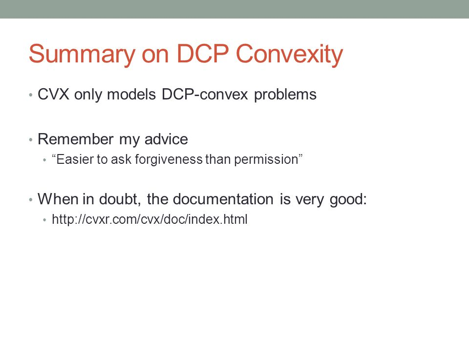 Summary on DCP Convexity