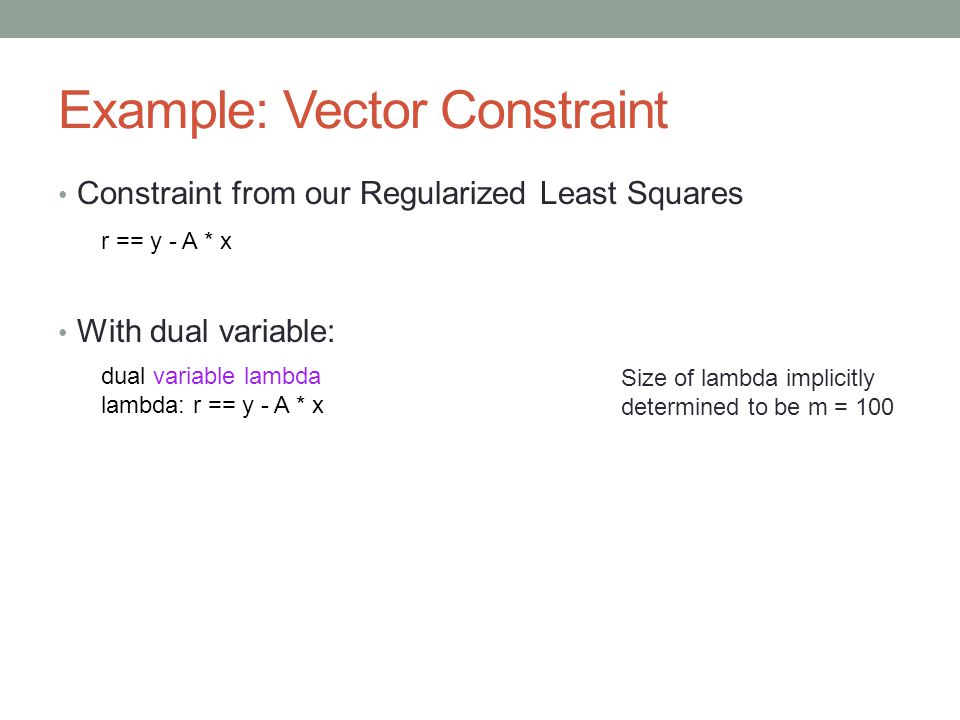Example: Vector Constraint