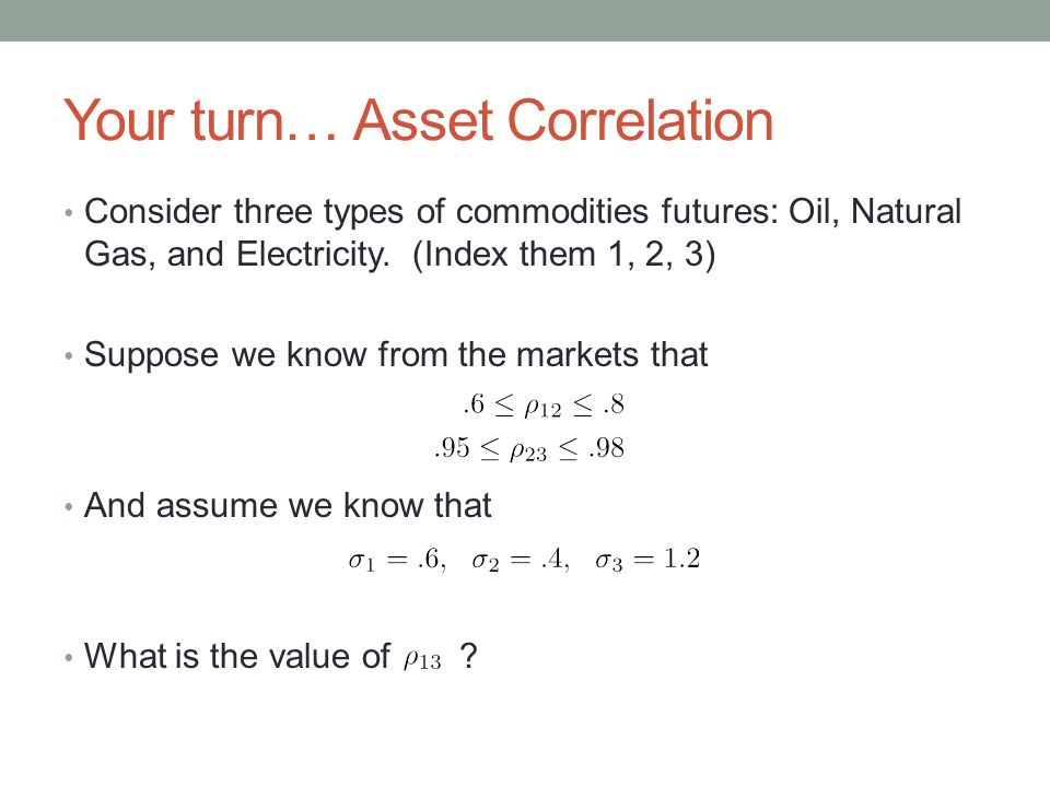 Your turn… Asset Correlation