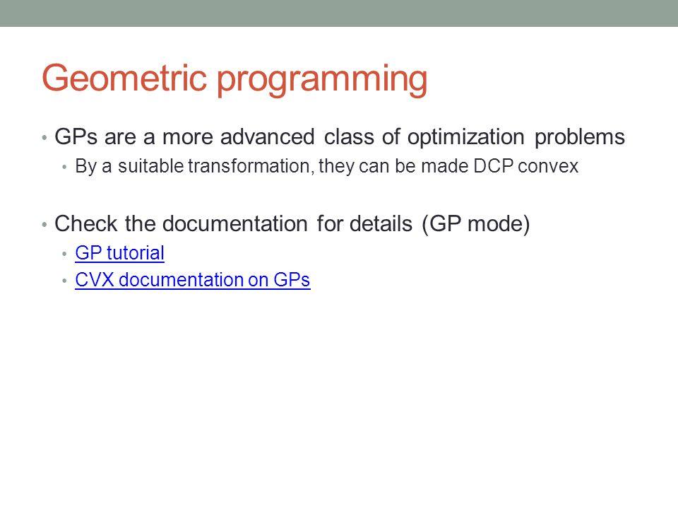 Geometric programming