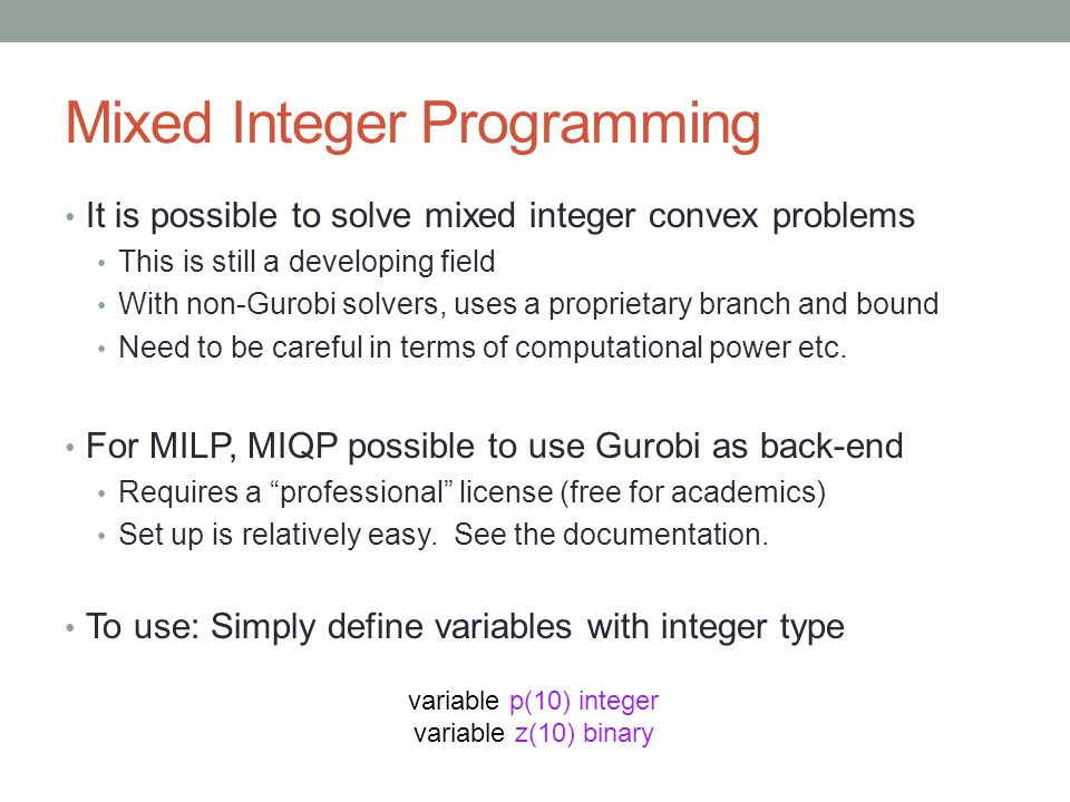 Mixed Integer Programming