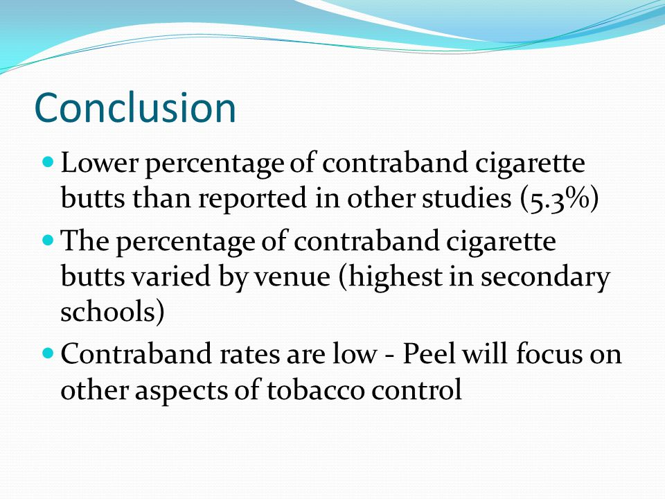 Conclusion Lower percentage of contraband cigarette butts than reported in other studies (5.3%)