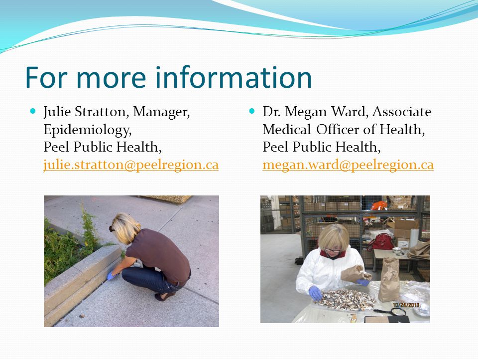For more information Julie Stratton, Manager, Epidemiology, Peel Public Health, julie.stratton@peelregion.ca.