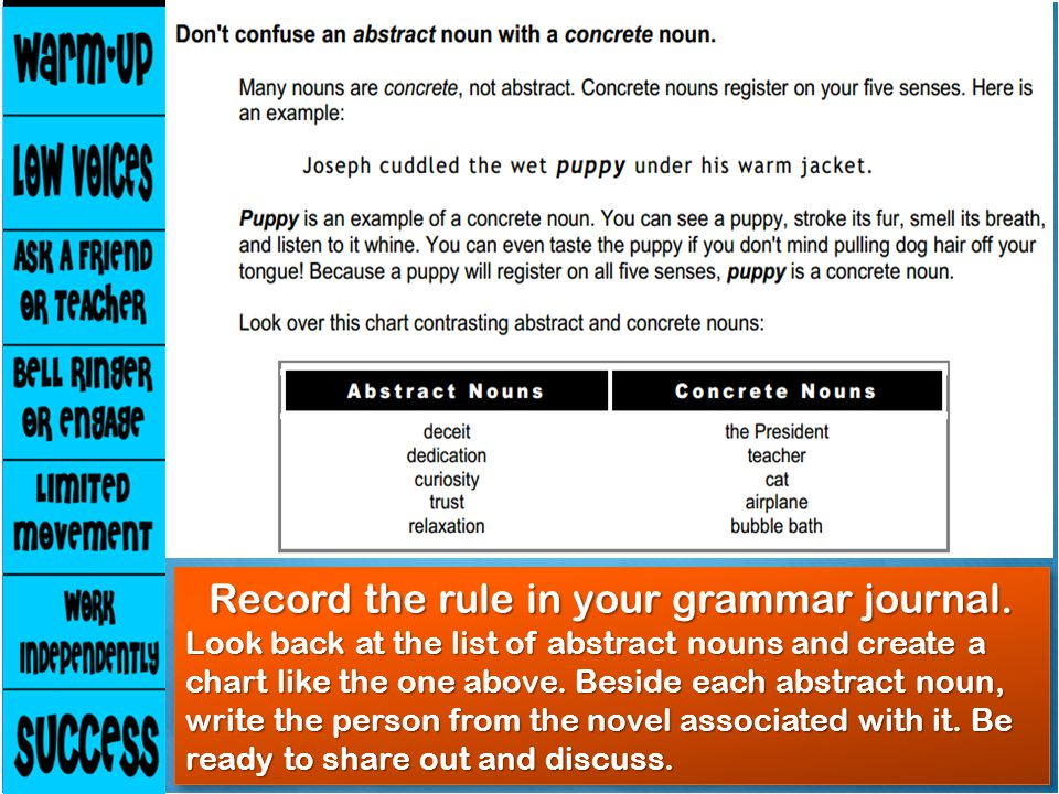 Record the rule in your grammar journal.