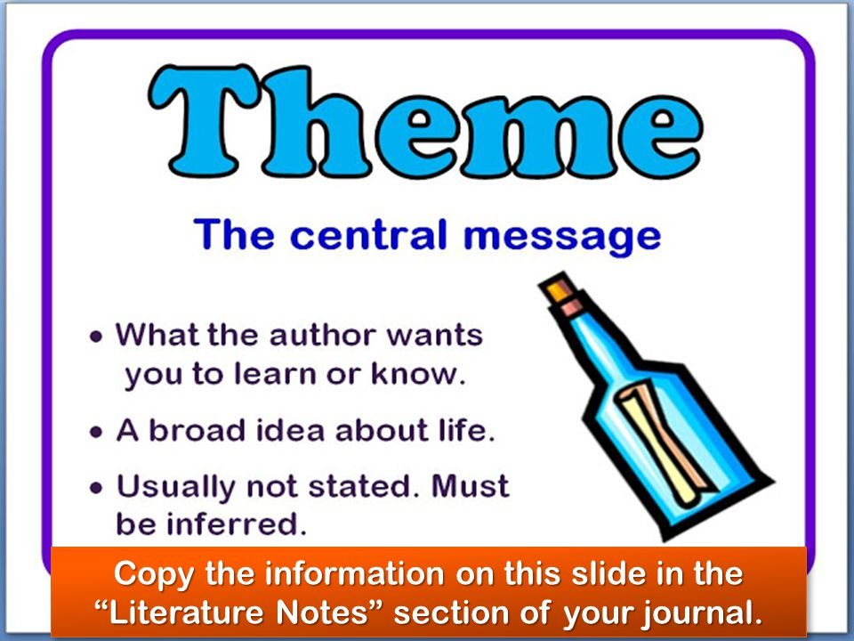 Copy the information on this slide in the Literature Notes section of your journal.