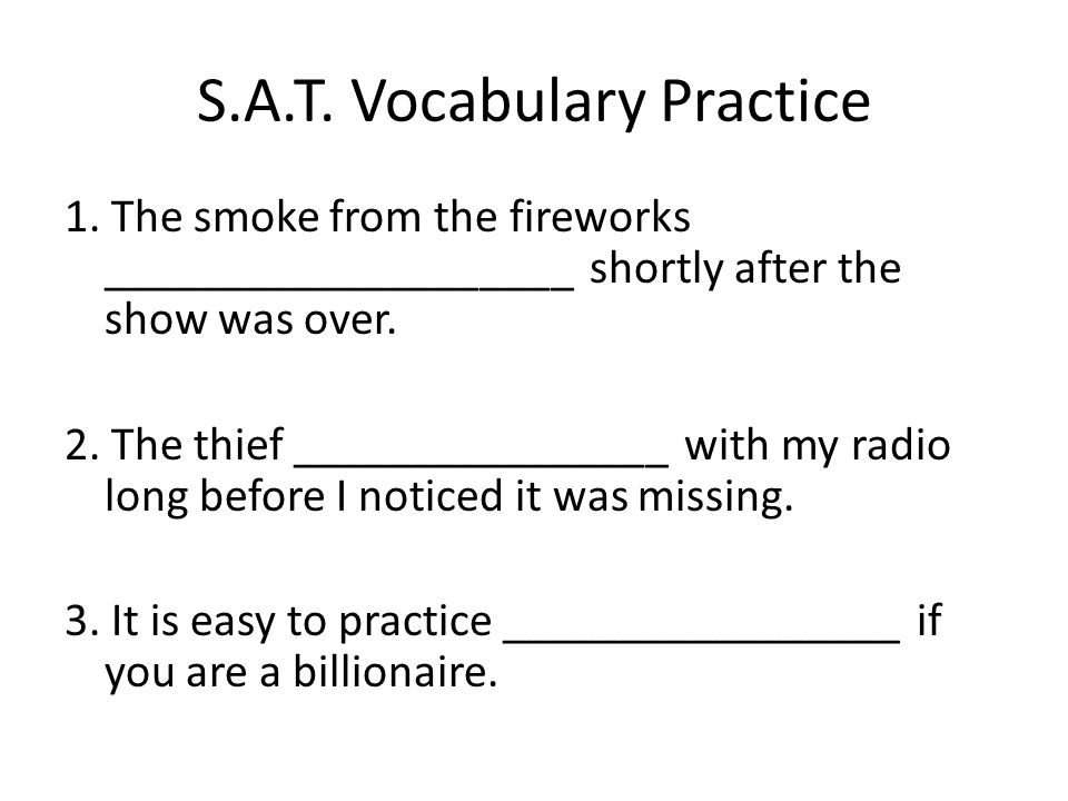 S.A.T. Vocabulary Practice