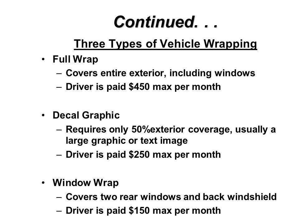 Three Types of Vehicle Wrapping