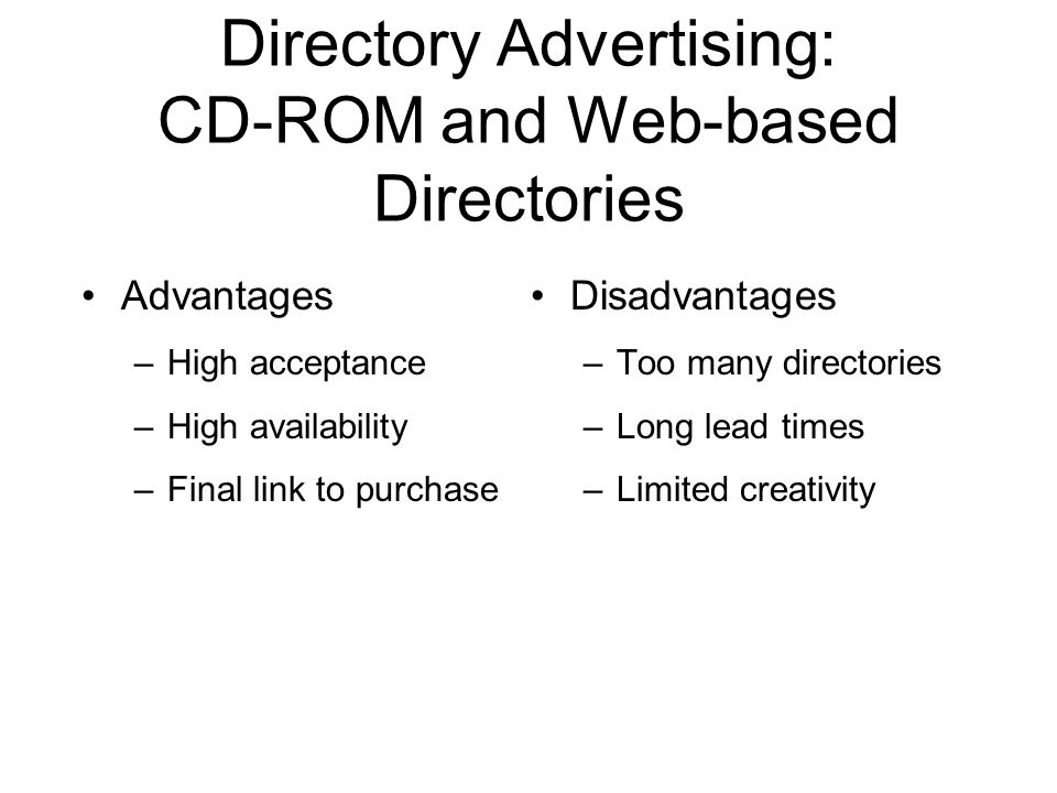 Directory Advertising: CD-ROM and Web-based Directories