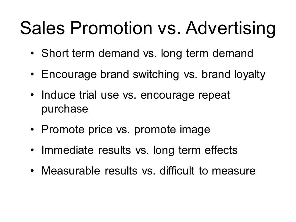 Sales Promotion vs. Advertising