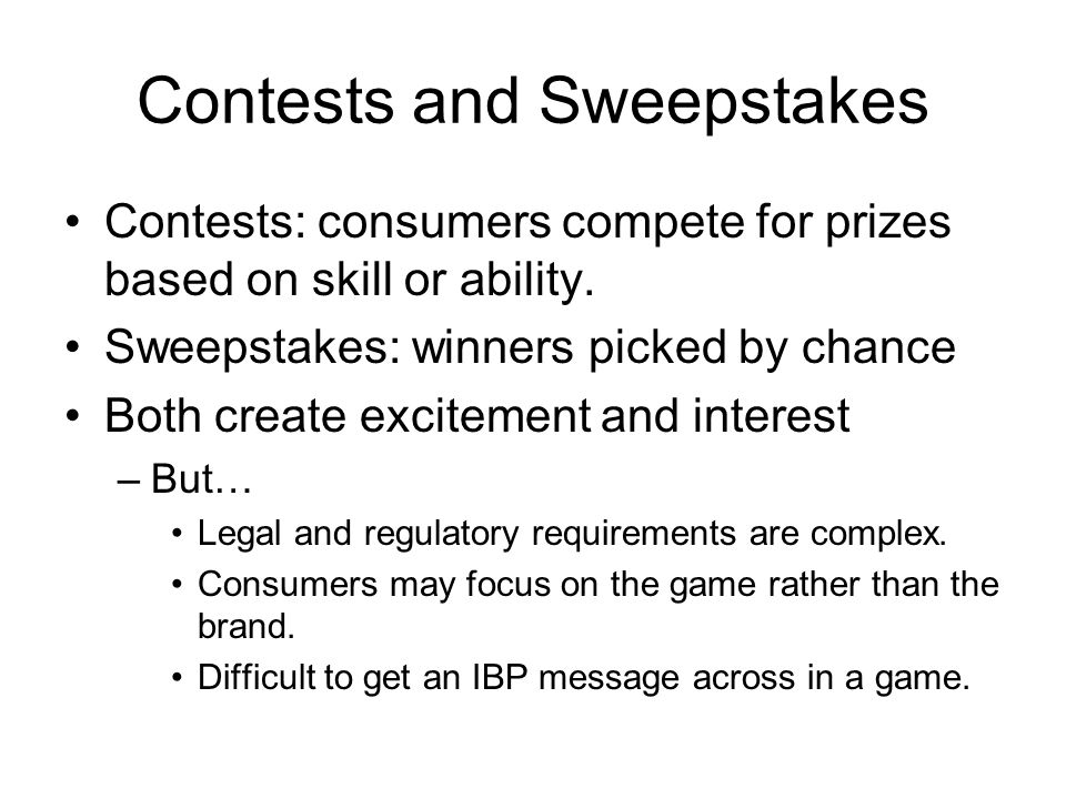 Contests and Sweepstakes