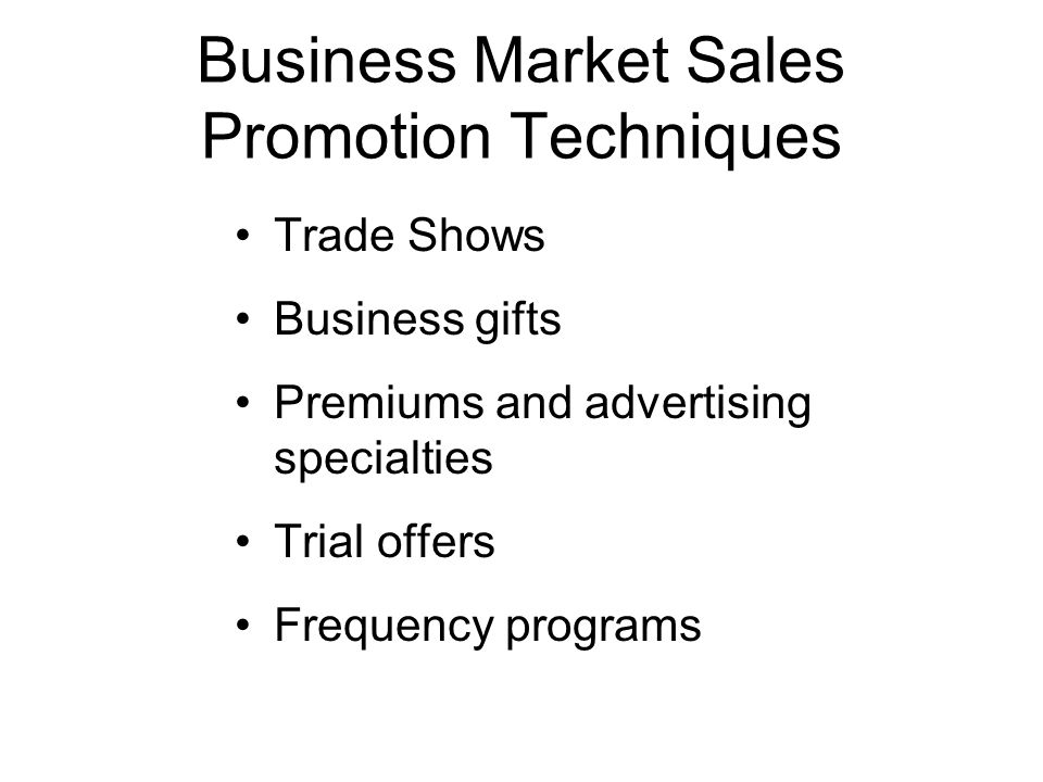 Business Market Sales Promotion Techniques