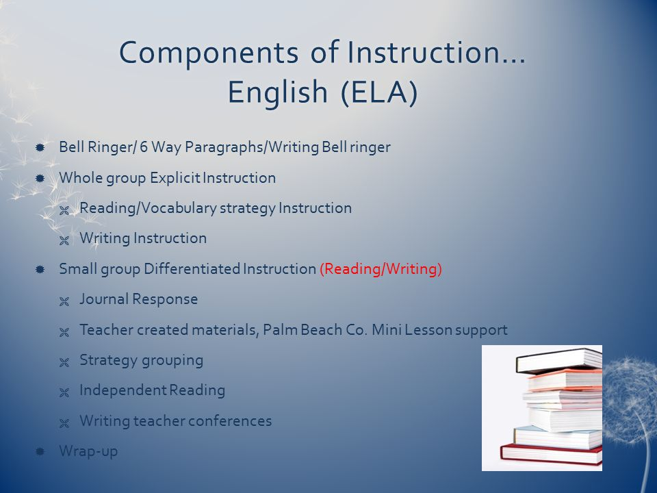 Components of Instruction… English (ELA)